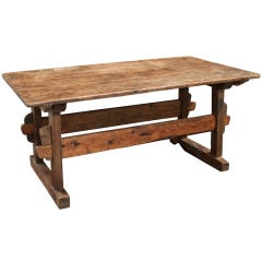 Primitive Trestle Chestnut Console Table