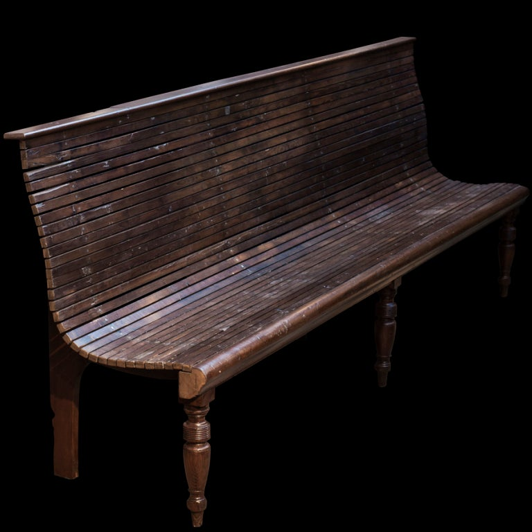 Slatted Garden Wood Bench image 2