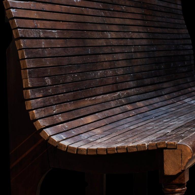 Slatted Garden Wood Bench image 4