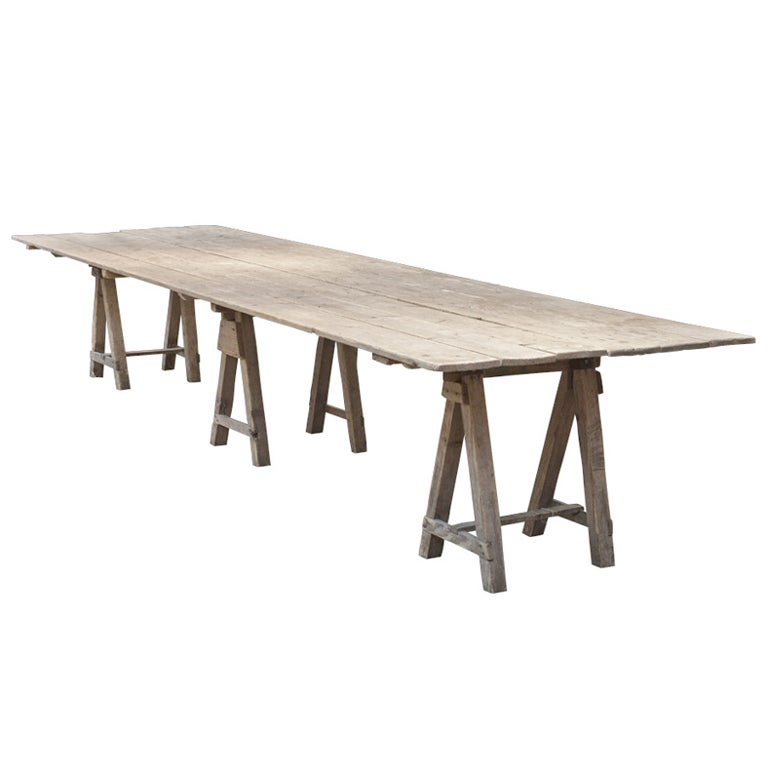 Extra long trestle work table at 1stdibs for Extra small dining table