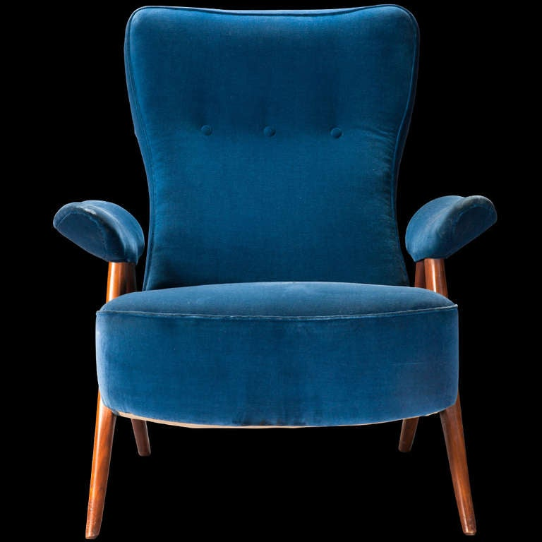 Pair of Ultramarine Blue Lounge Chairs at 1stdibs