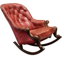 Overized Leather Victorian Rocker