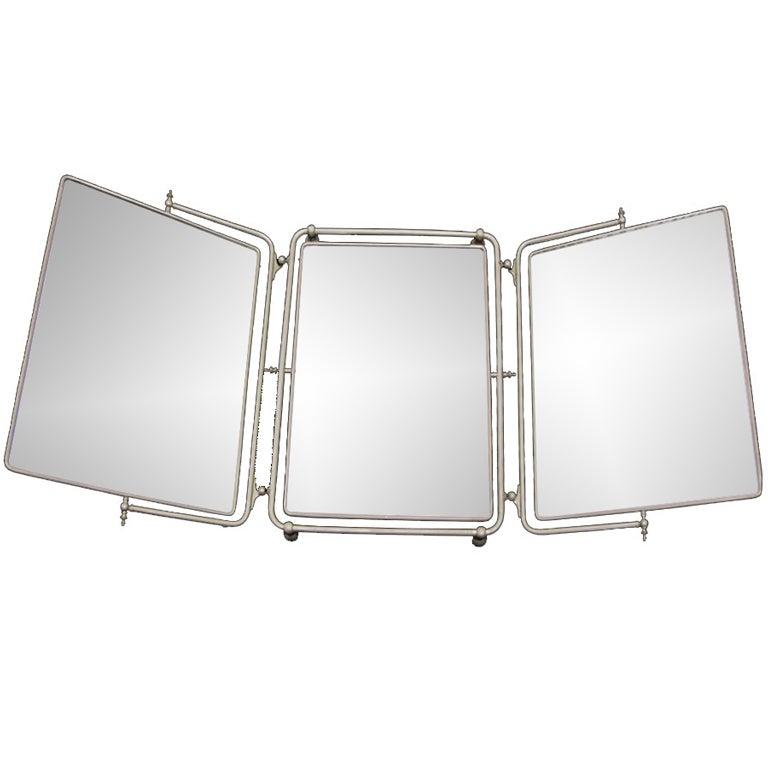 Three Way Nickel Plated Mirror At 1stdibs