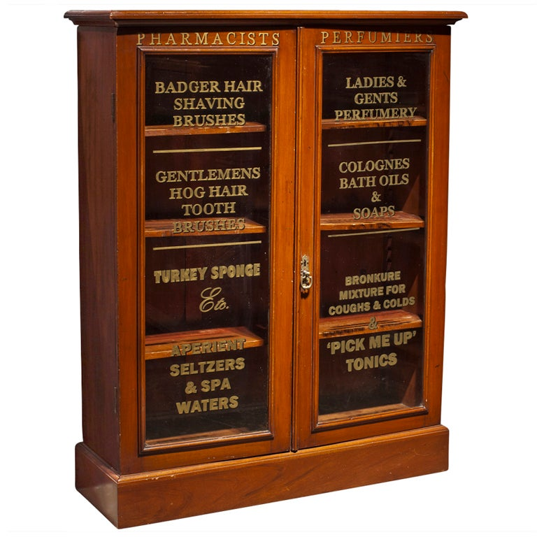 Glass Front Pharmacy Cabinet At 1stdibs