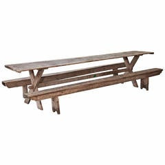 Large Rustic Trestle Table with Pair of Benches