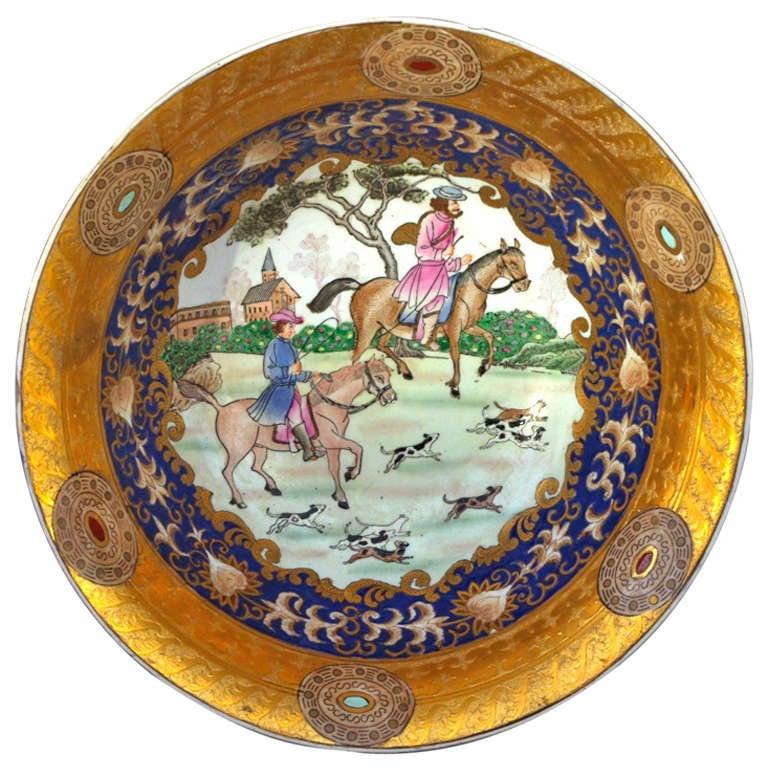 19th Century Samson Porcelain Hunting Scene Plate/Bowl For Sale