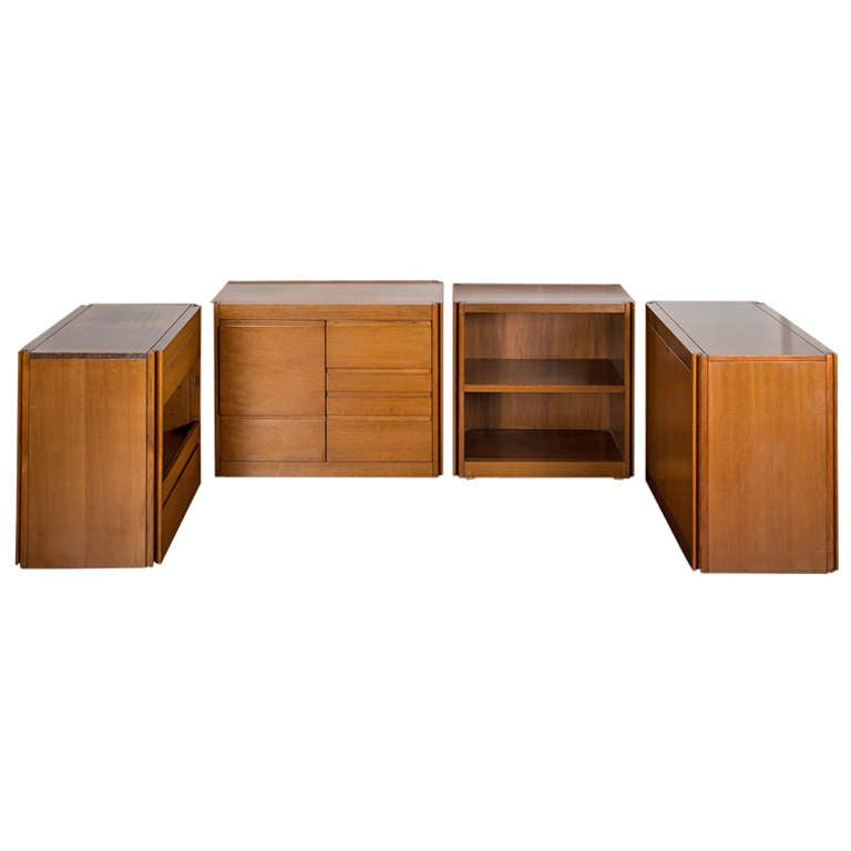 """Set of Four """"4D"""" storage system by Angelo Mangiarotti for Molteni"""