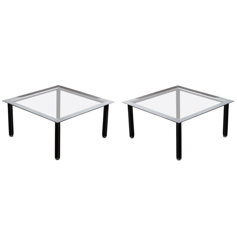 "Set of Two ""Fasce Cromate"" Coffee Tables by Luigi Caccia Dominioni for Azucena"