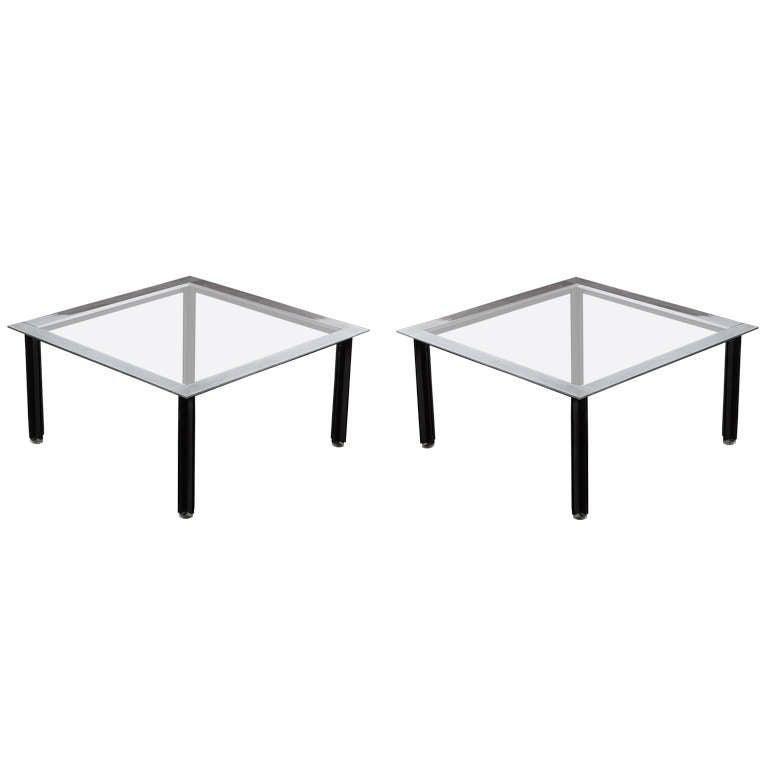 "Set of Two ""Fasce Cromate"" Coffee Tables by Luigi Caccia Dominioni for Azucena"