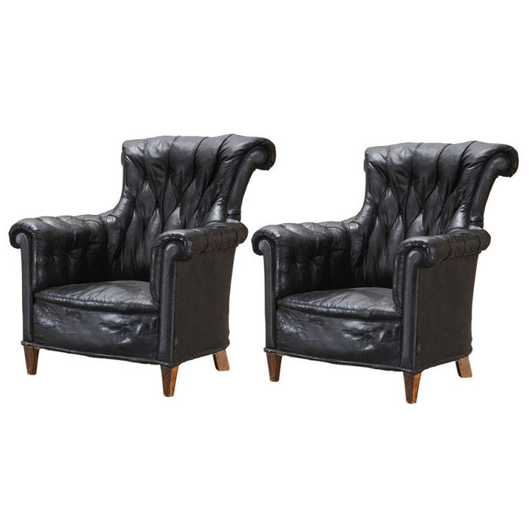 English Black Leather Wingback Chairs at 1stdibs