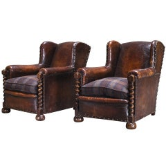 Oak and Leather Wingback Arm Chairs