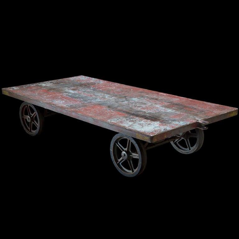steel railroad cart coffee table at 1stdibs