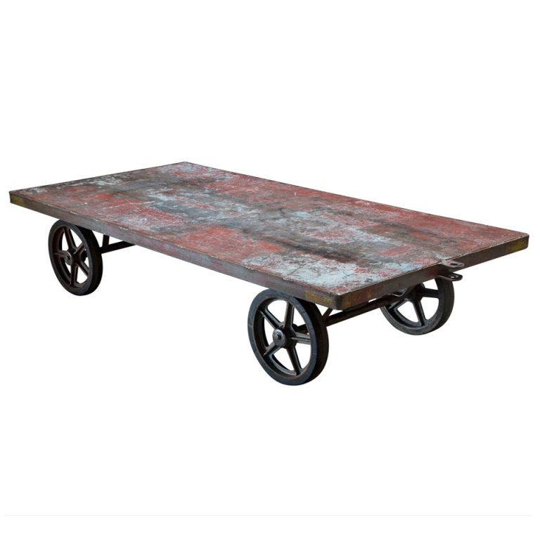 Steel Railroad Cart Coffee Table