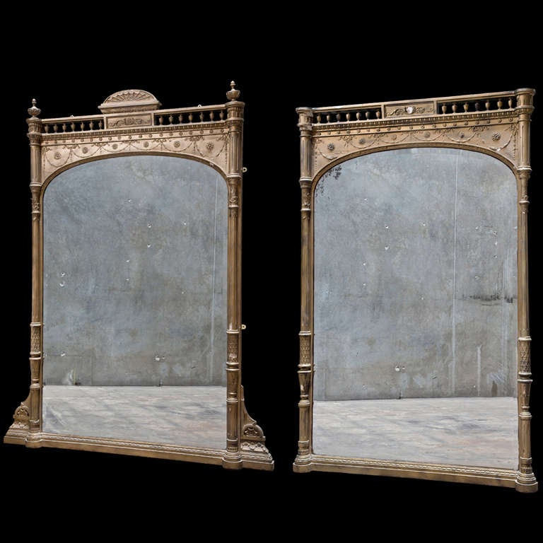 English gilted mantel mirror at 1stdibs for Mantel mirrors