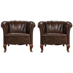 Pair of Leather Deco Club Chairs