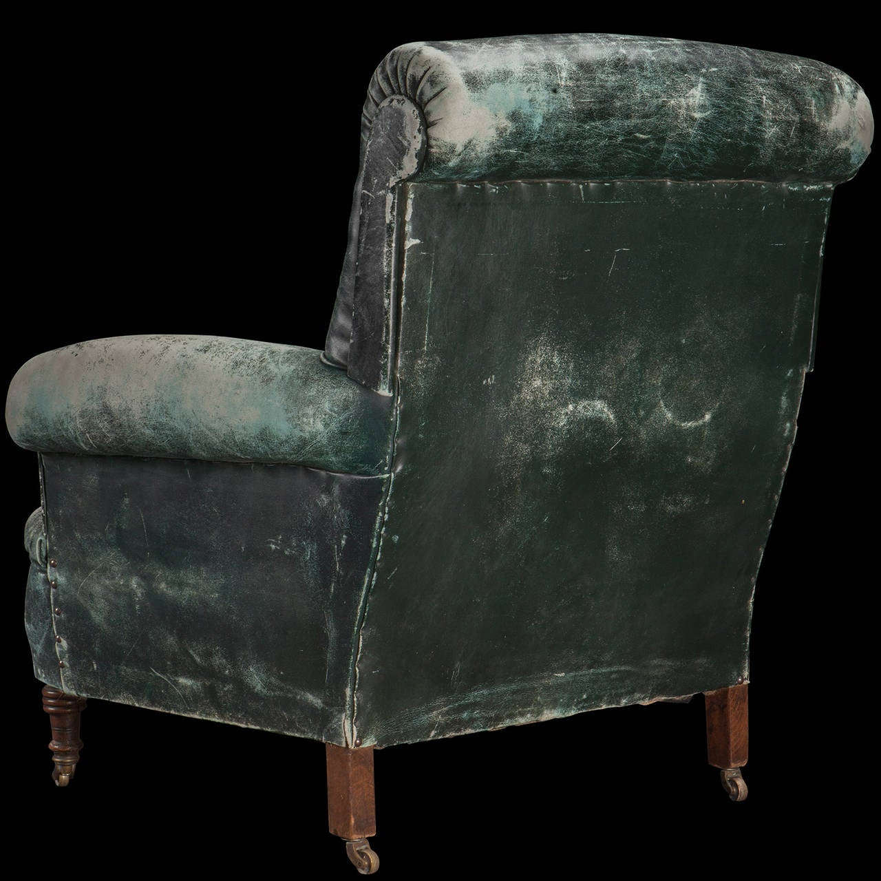 Weathered Green Leather Armchair at 1stdibs