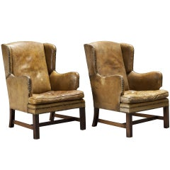 Pair of English Library Leather Wingback Chairs