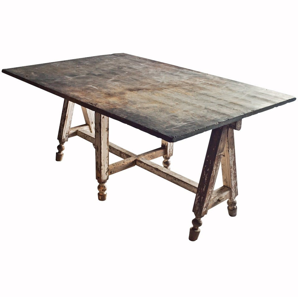 Stone top work dining table at 1stdibs for Granite dining table