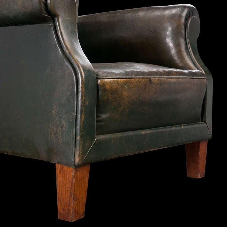 Dark Green Leather Lounge Chair At 1stdibs