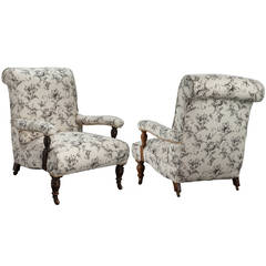 Near Pair of Howard Style Library Chairs
