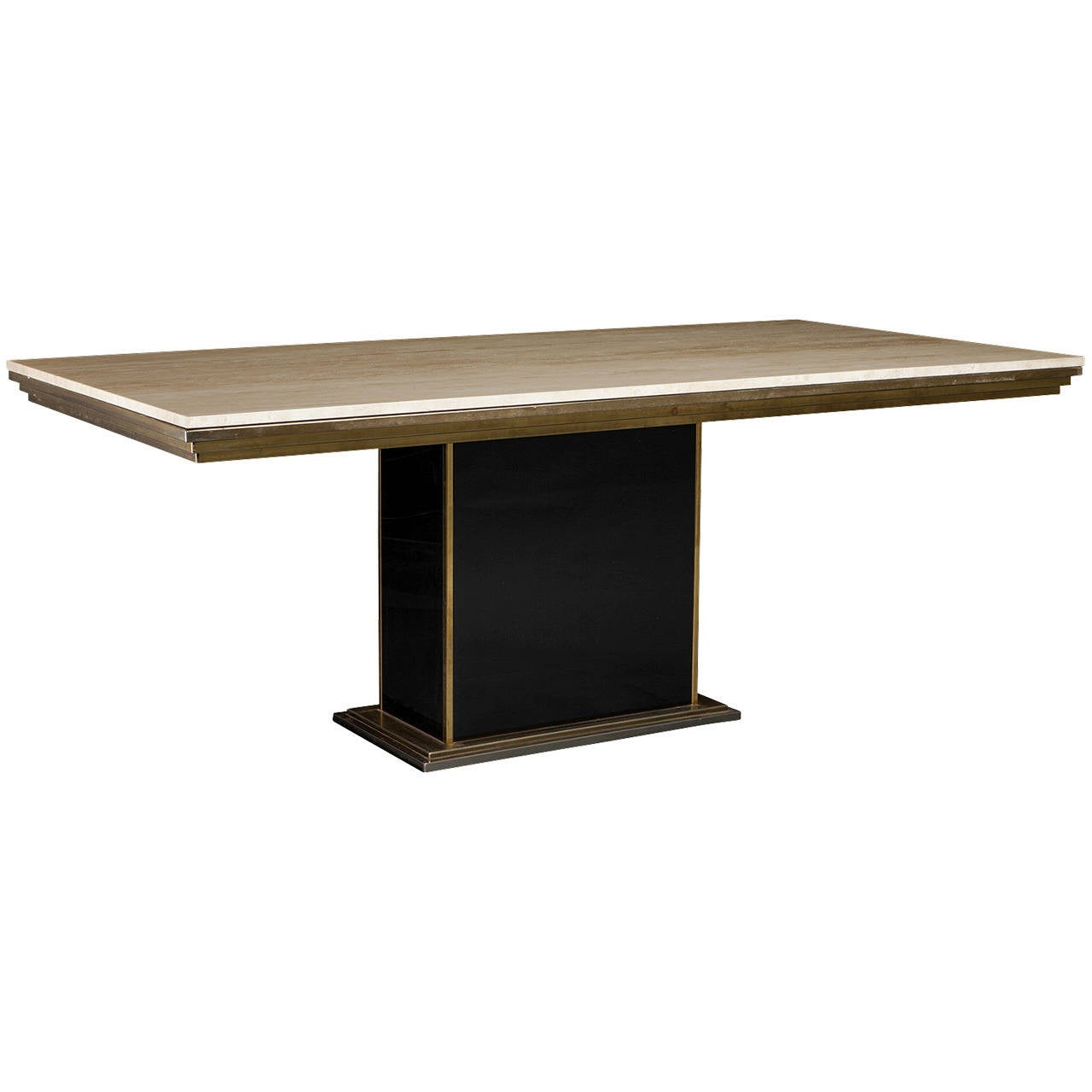 Travertine marble dining table at 1stdibs for Modern marble dining table