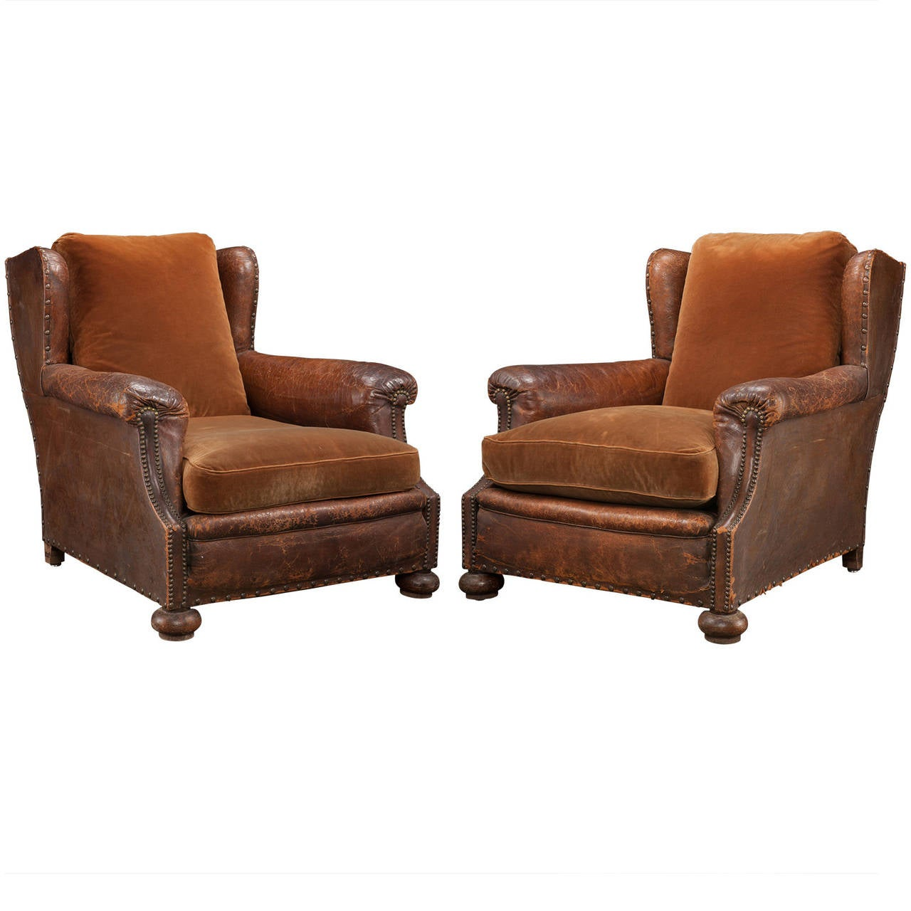 Very comfortable pair of 1950s french reclining leather armchairs - Pair Of Leather And Velvet Lounge Chairs 1