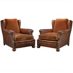 Pair of Leather and Velvet Lounge Chairs