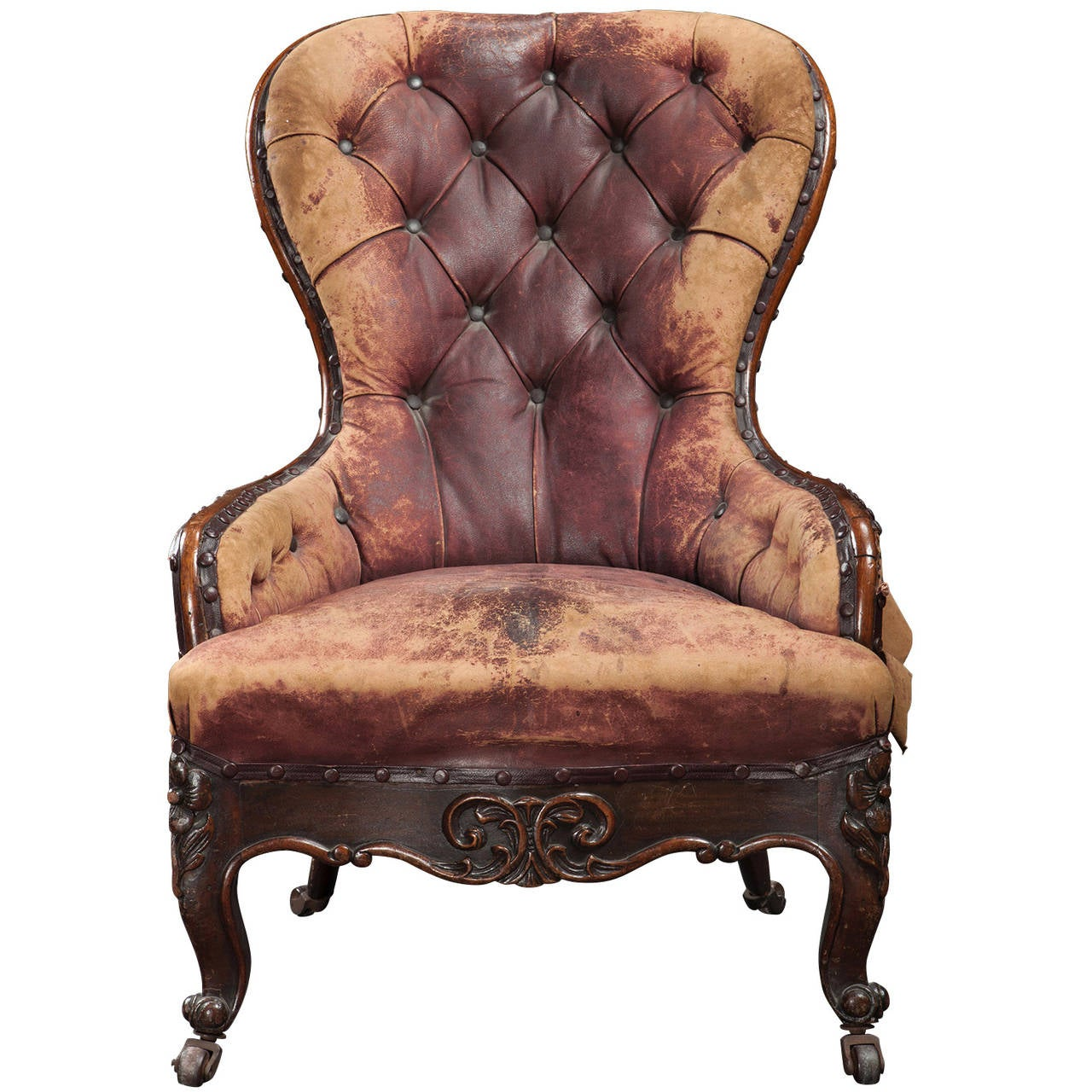 leather victorian nursing chair england circa 1 - Nursing Chair