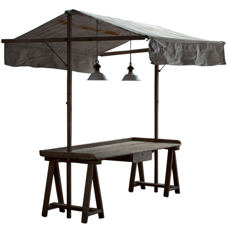 Outdoor Work Table With Fabric Canopy At 1stdibs