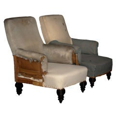 Pair of Simple Primitive Lounge Chairs with Slight Roll Arms