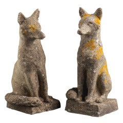 Pair of Stone Foxes