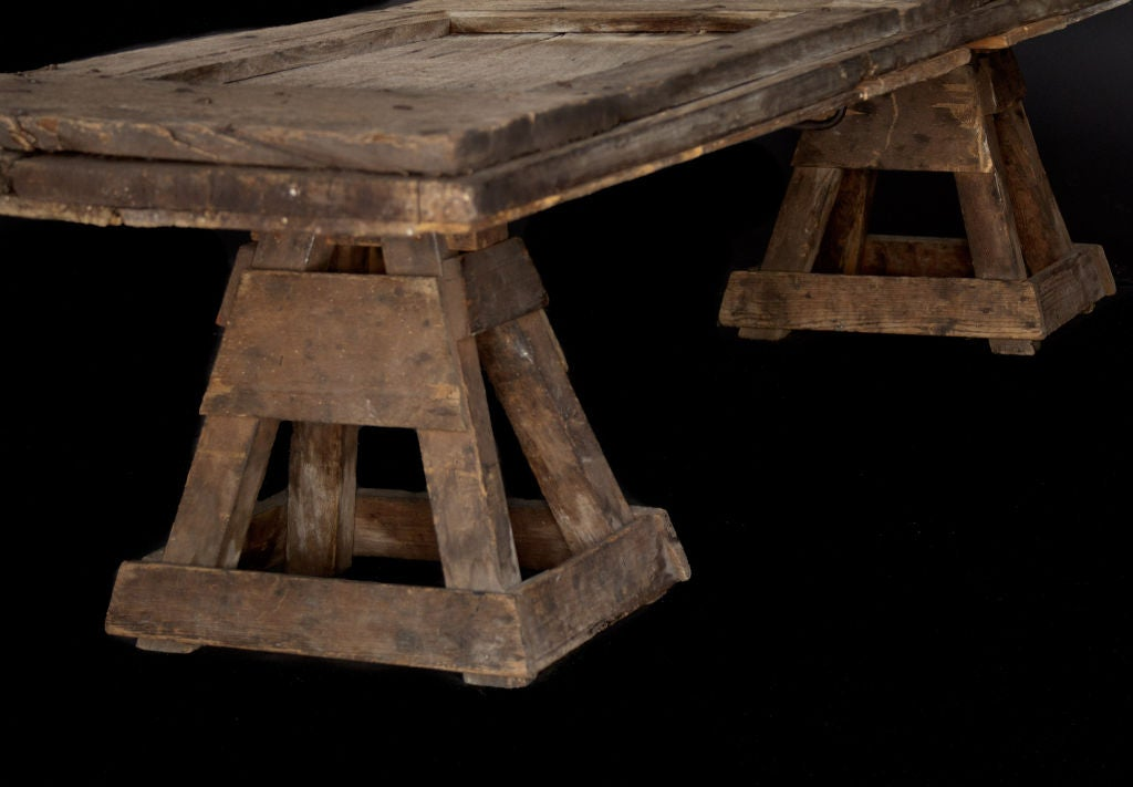 Two Primitive Coffee Tables from Early Wood Church Doors 4