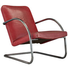 Chrome and Red Leather Lounge Chair