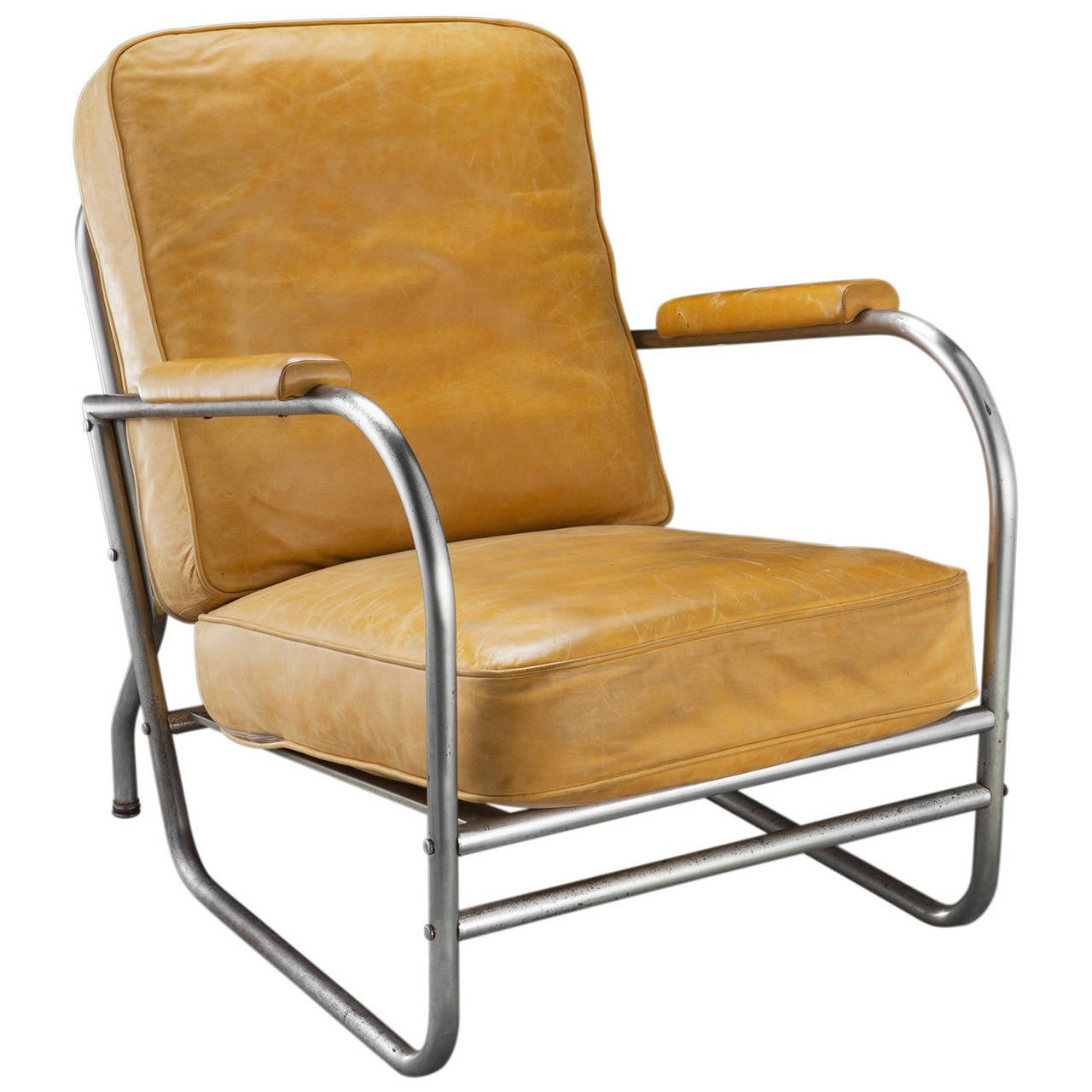Yellow Leather And Chrome Armchair At 1stdibs