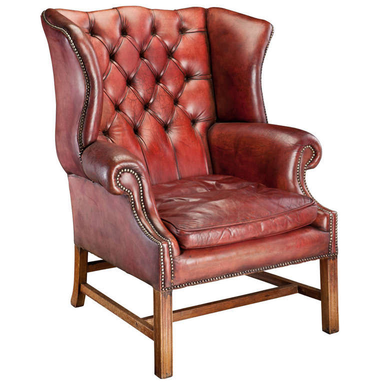 Red Leather Wingback Chair At 1stdibs