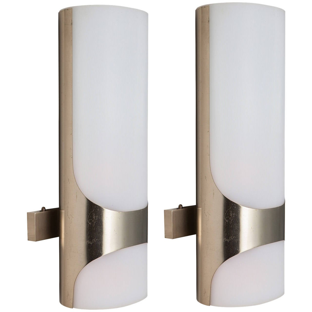 Modern Chrome Wall Sconces : Pair of Modern Chrome Sconces at 1stdibs