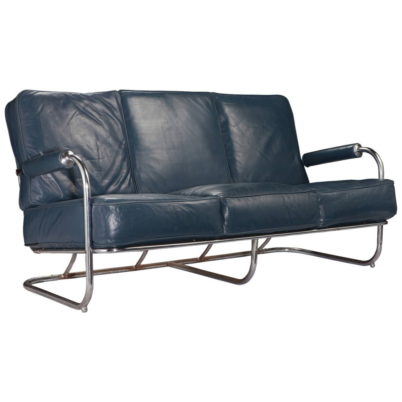 Blue leather chrome sofa at 1stdibs for Blue leather sofa