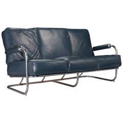 Blue Leather Chrome Sofa