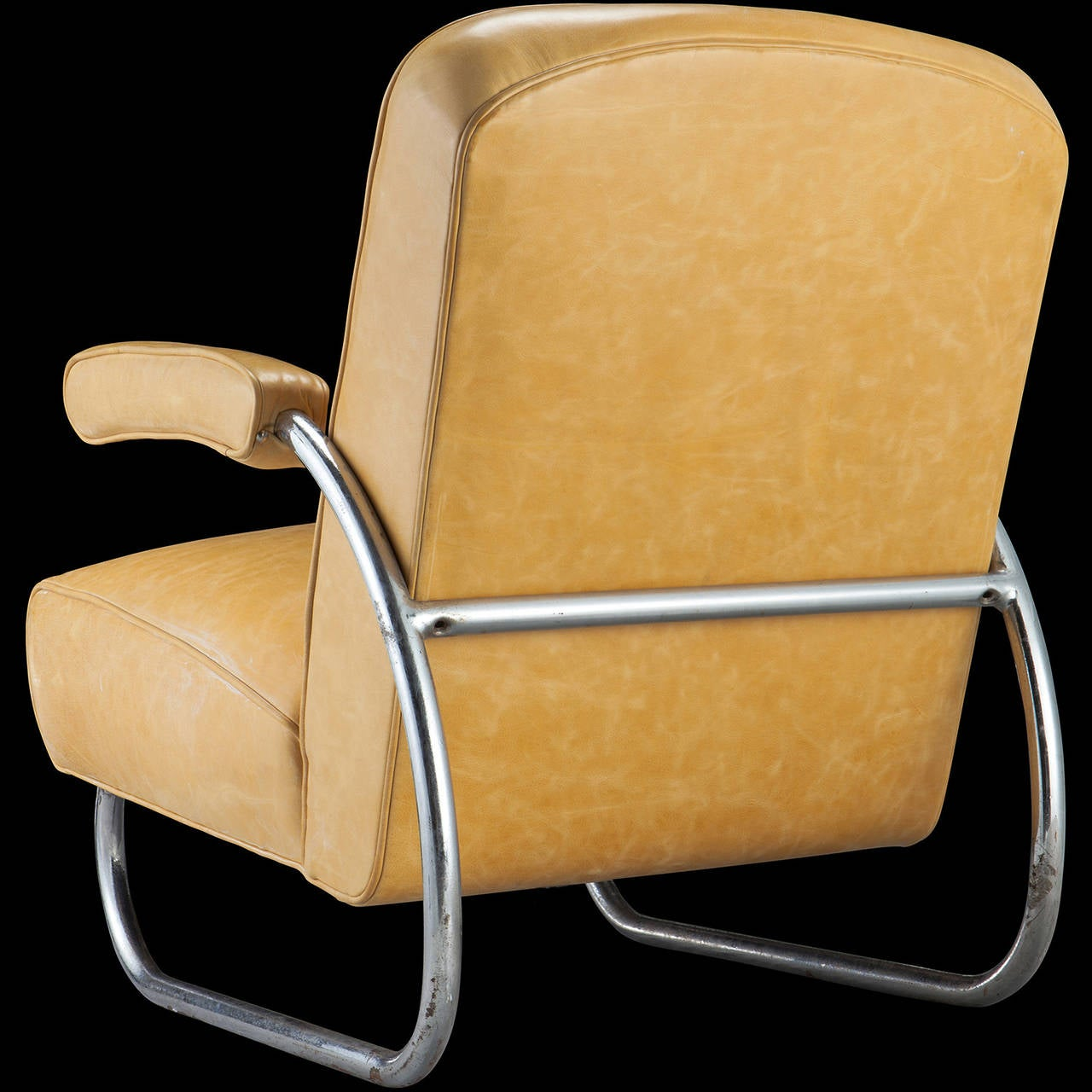 yellow leather chrome lounge chair at 1stdibs