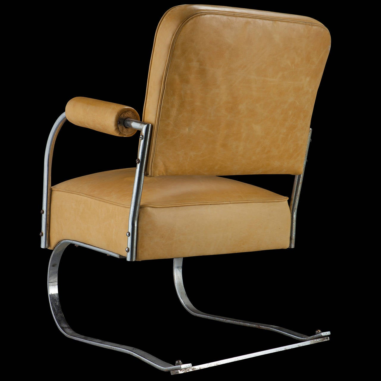 yellow leather and chrome cantilever chair image 4