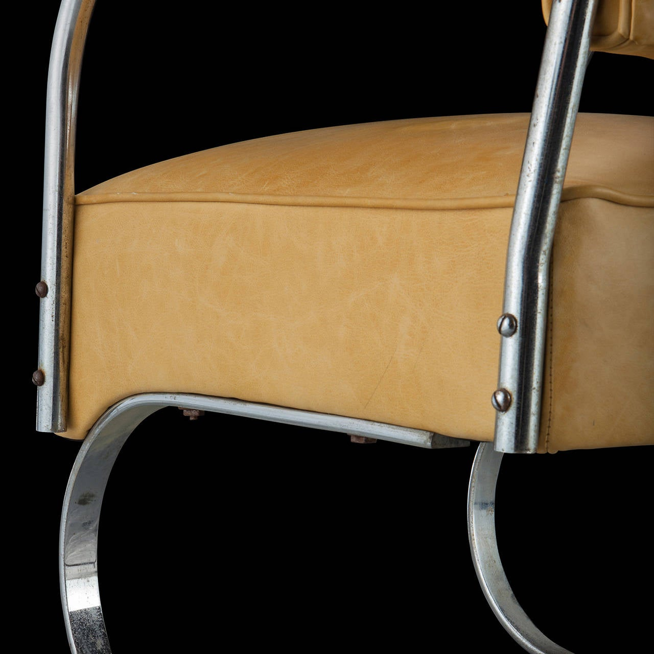 Yellow Leather And Chrome Cantilever Chair At 1stdibs