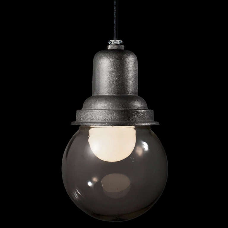 Large Glass Ball Industrial Light At 1stdibs