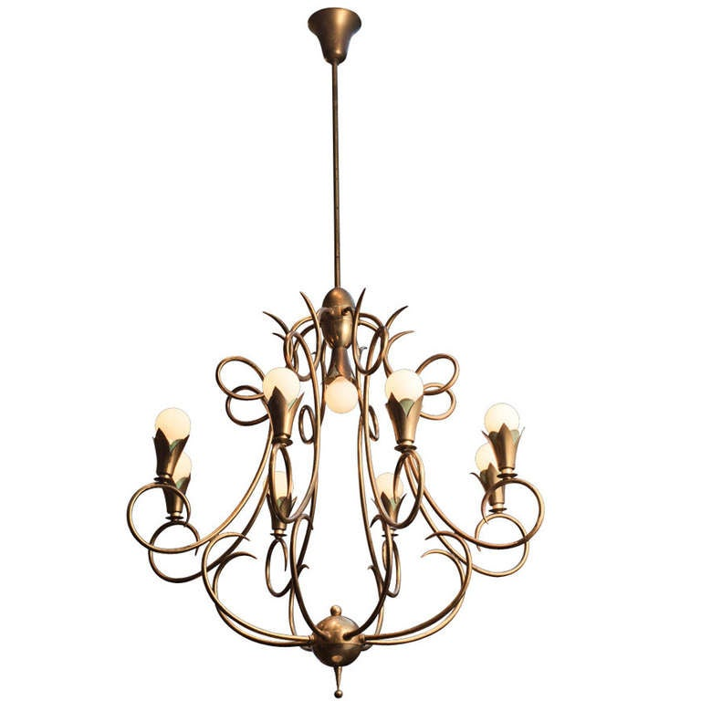 Brass Two Tiered Chandelier at 1stdibs