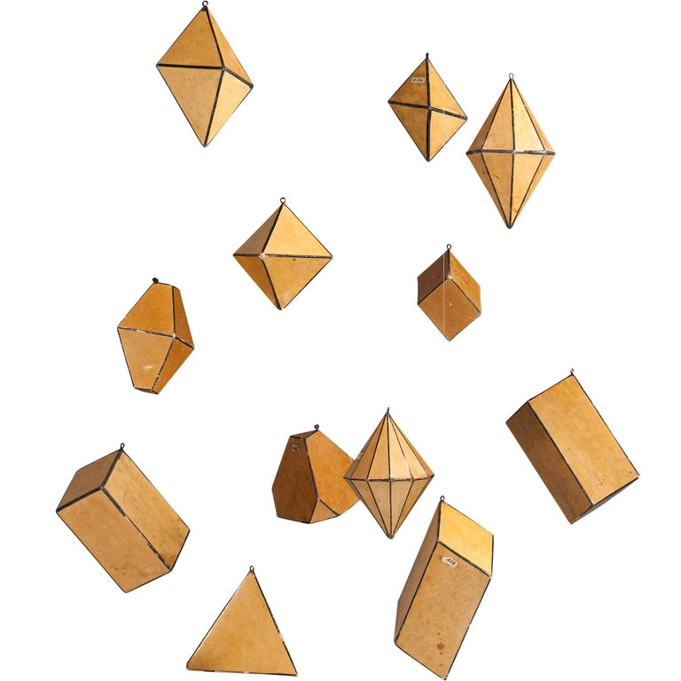 Komenium cardboard crystal forms, ca. 1950, offered by Obsolete