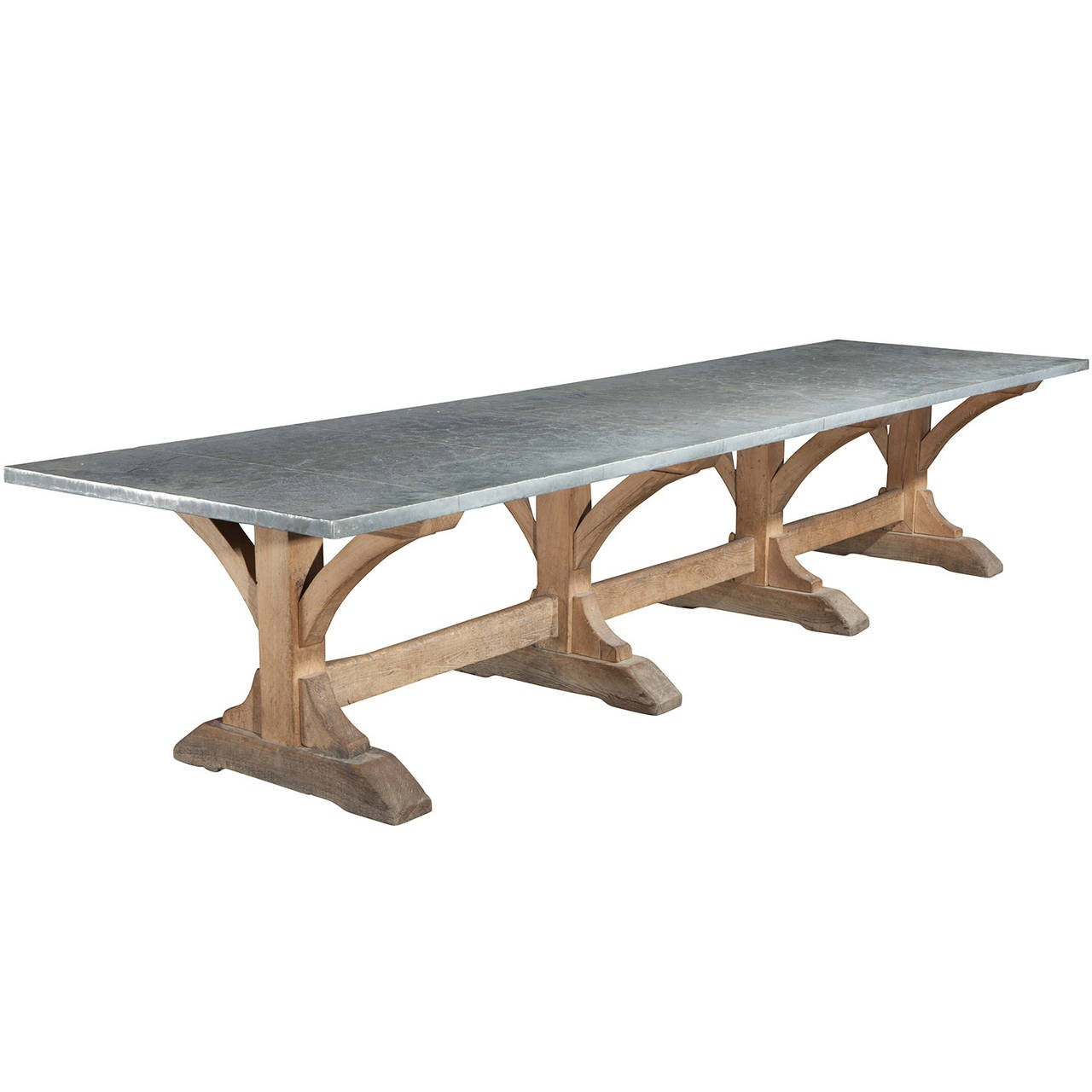 large oak refectory table with zinc top at 1stdibs