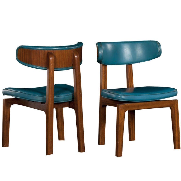 Blue Leather Dining Chairs At 1stdibs