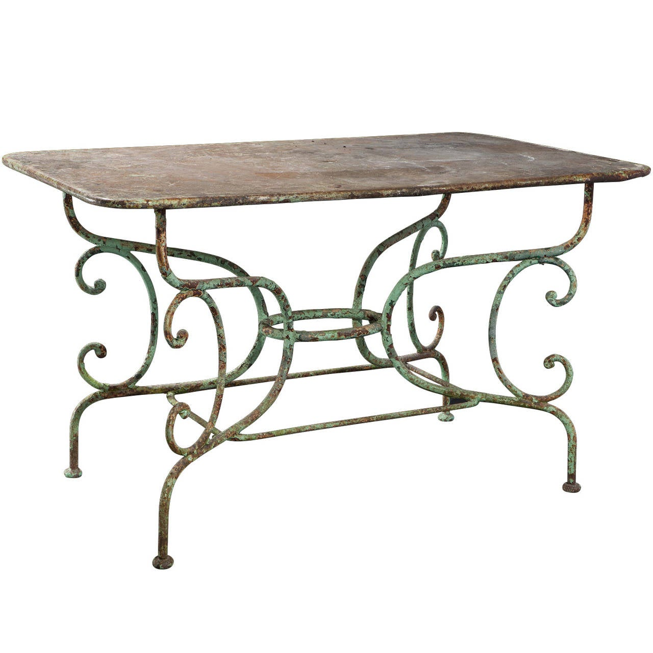 Cast iron garden table at 1stdibs for Cast iron end table
