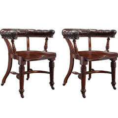 Pair of Saddle Seat Desk Chairs