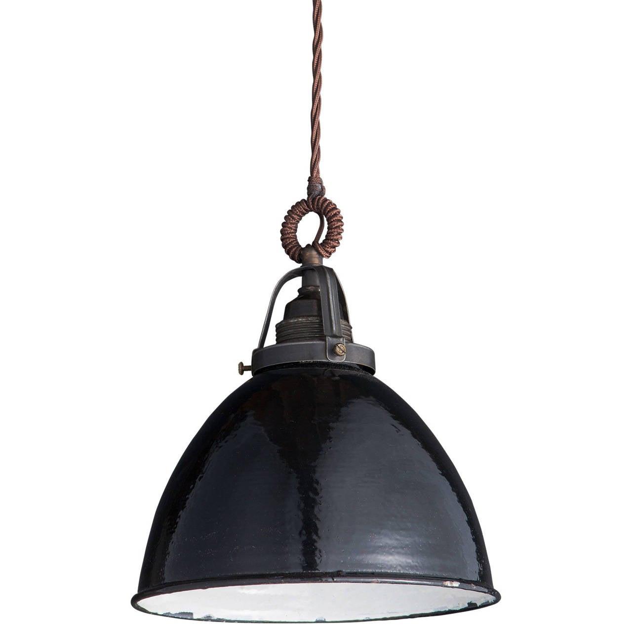 industrial black enamel pendant at 1stdibs