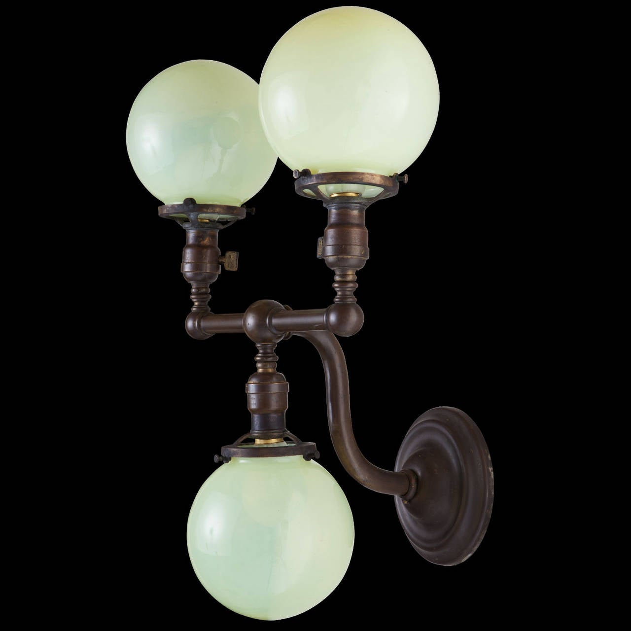 Wall Sconce Glass Globes : Pair of Brass and Vaseline Glass Three-Globe Sconces For Sale at 1stdibs